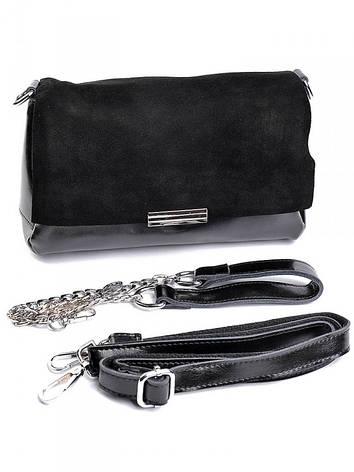 Жіноча сумка шкіряна замшевий клапан Case B7073 чорна, фото 2