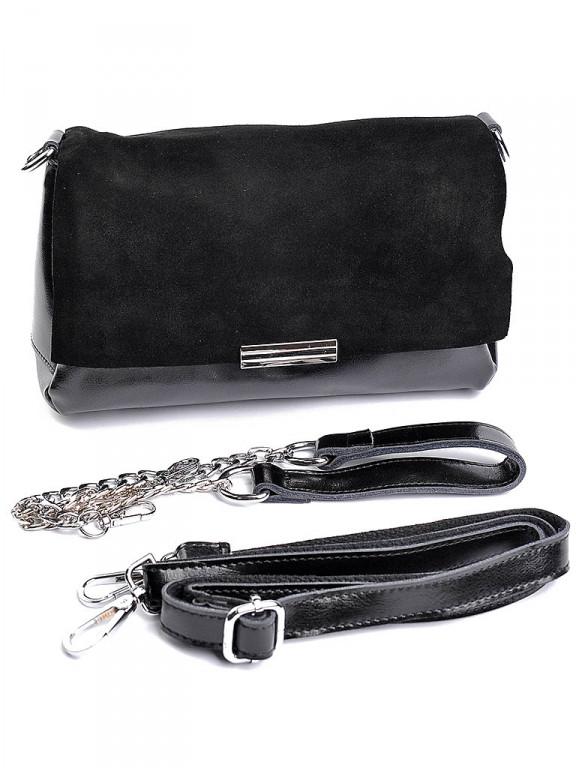 Жіноча сумка шкіряна замшевий клапан Case B7073 чорна