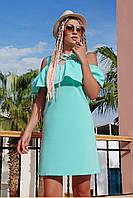 Летнее свободное платье трапеция миди с воланом и разрезами на плечах сарафан Калабрия мятное