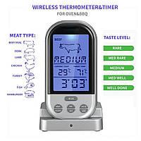 Бездротовий термометр (до 30 м) з щупом для приготування їжі KCASA (0 до +250 °С) З ф-їй таймера
