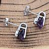 Серебряные серьги гвоздики размер 15х7 мм вставка фиолетовые фианиты вес 3.6 г, фото 3