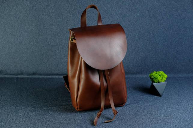 Кожаный рюкзак на затяжках с свободным клапаном Кожа Итальянский краст цвет Вишня, фото 2