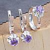 Серебряный набор с натуральными аметистами  кольцо размер 17 + серьги 24х9 вставка натуральный аметист, фото 3