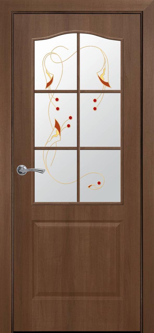 """Дверь межкомнатная """"Новый Стиль"""" модель ПВХ Классик, золотая ольха (стекло сатин с рисунком)"""