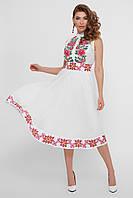 Нарядное летнее белое платье без рукавов с шифоновой юбкой и цветочным орнаментом