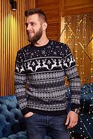 Мужской свитер с оленями черно-с белым, кофта новогодняя мужская