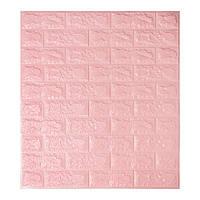 Декоративная 3D панель самоклейка под кирпич Розовый 700x770x7мм, фото 1