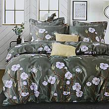 Комплект постельного белья сатиновый двуспальный с цветами Koloco 180x220см