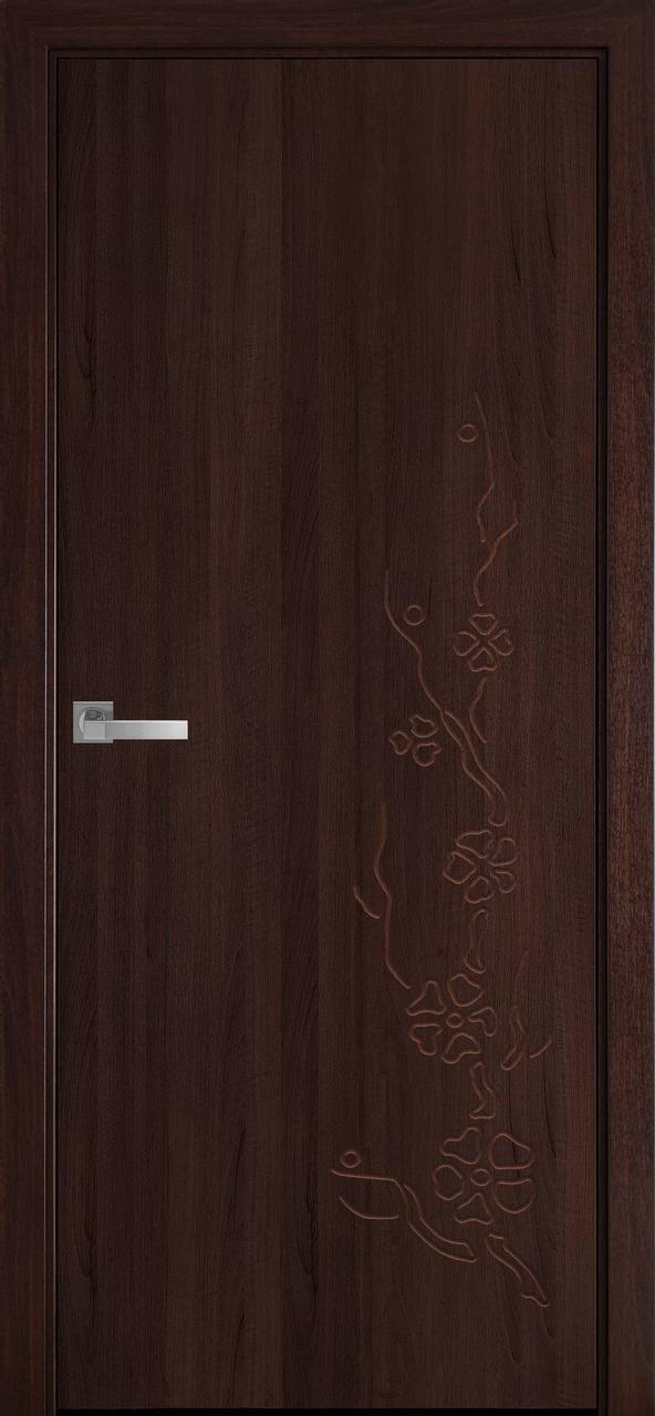 """Дверь межкомнатная """"Новый Стиль"""" модель ПВХ Сакура, каштан (глухое с рисунком)"""