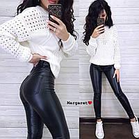 Штани жіночі стильні з еко шкіри з кишенями різні кольори Bmk146