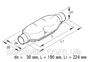 Глушник вихлопної системи діаметром 30мм