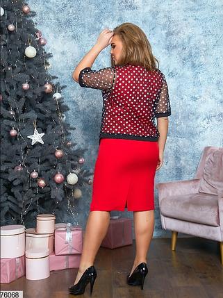 Нарядное платье красного цвета батал Минова Размеры: 48-50, 52-54, 56-58, 60-62, фото 2