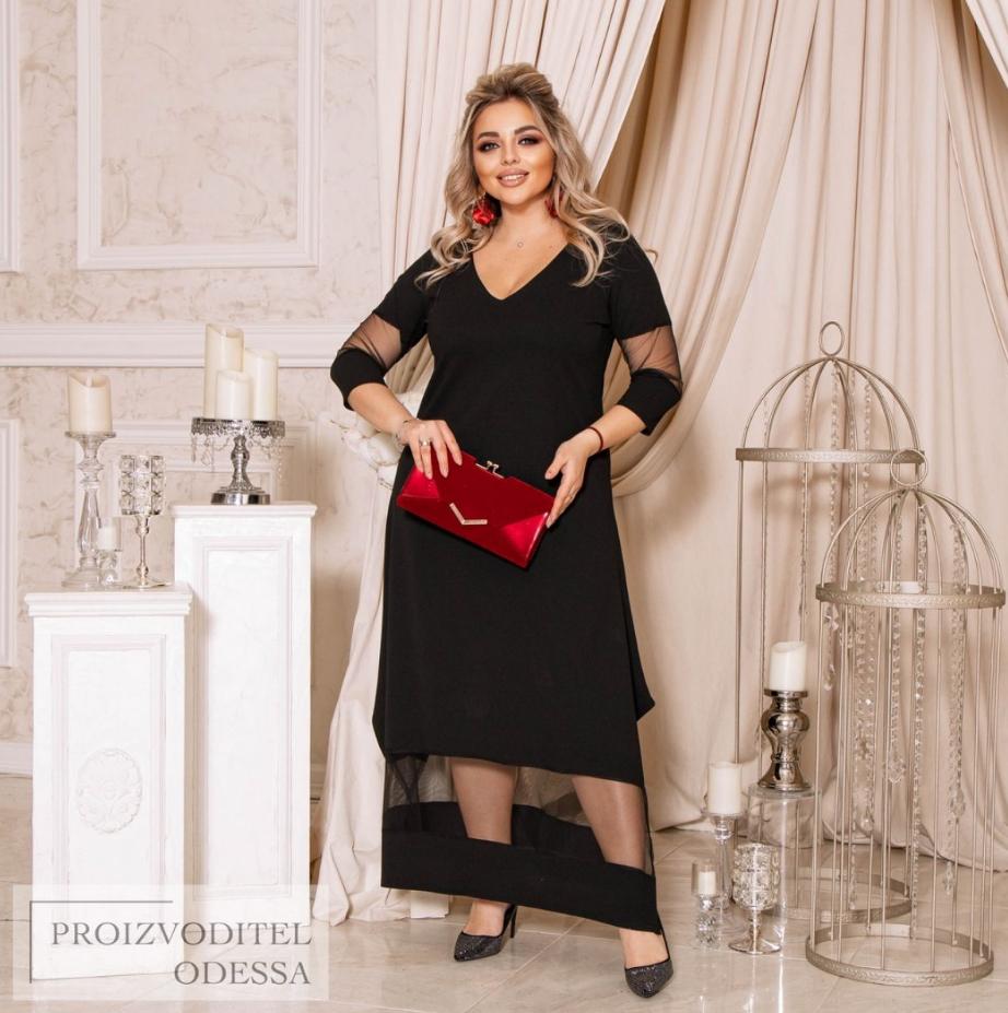 Нарядное платье в пол черного цвета батал Минова Размеры: 50-52, 54-56, 58-60, 62-64