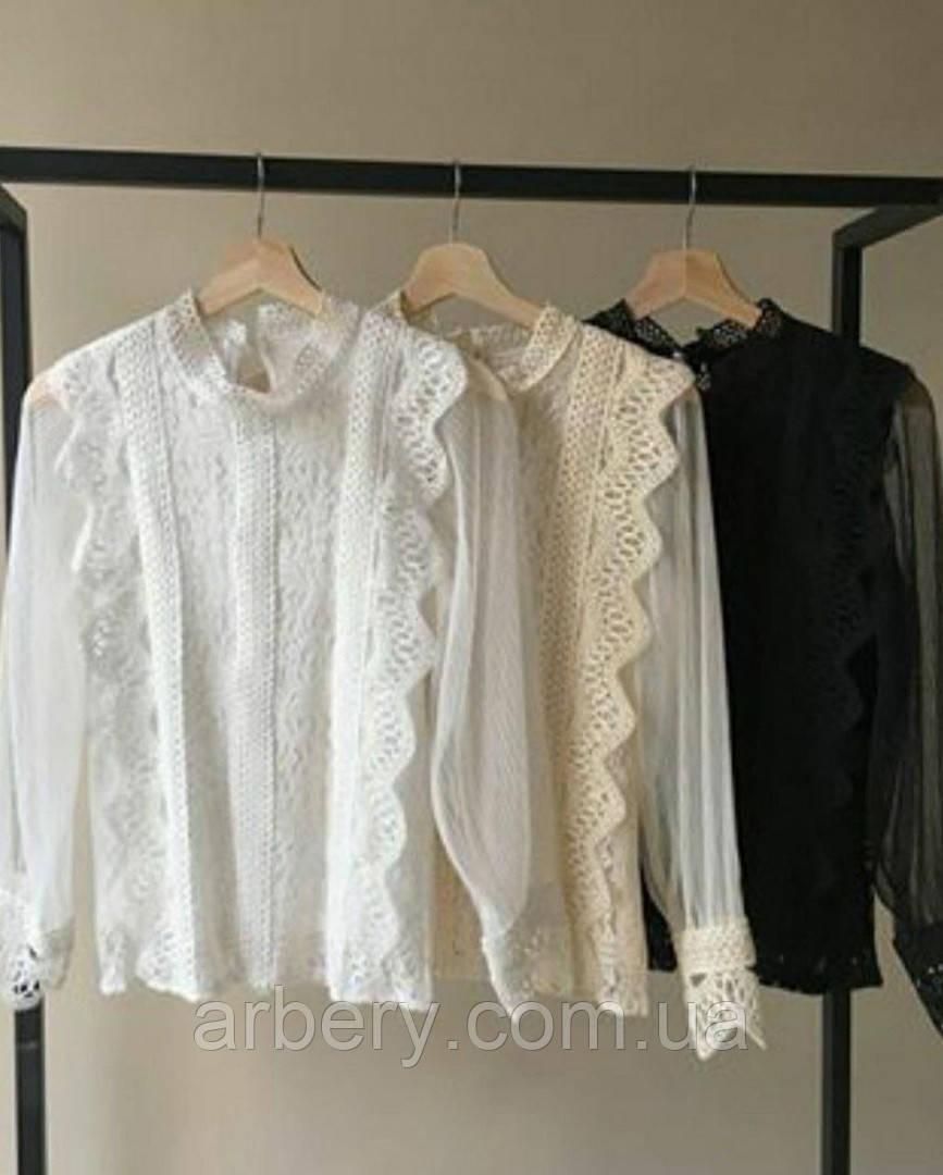 Шикарная нарядная блузка с кружевом и сеткой