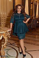 Красивое женское платье из гипюра на подкладе с баской с 50 по 60 размер, фото 1