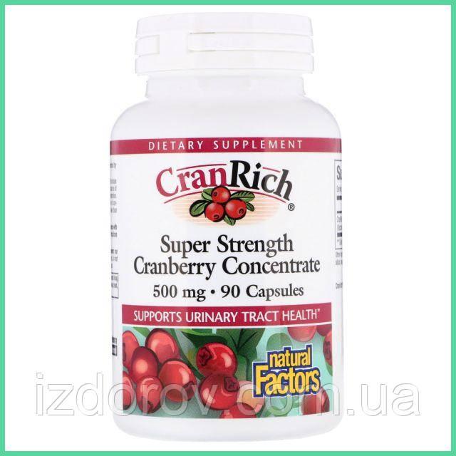 Natural Factors, CranRich, Клюква концентрат 500 мг, Cranberry Concentrate, 90 капсул