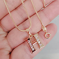 Кулон буква Н с цепочкой снейк 1мм 50см xuping медицинское золото позолота 18К  5281