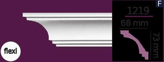 Карниз стельовий гладкий 1219 (2.44м) Flexi Home Decor ліпний декор з поліуретану