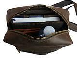Мужская сумка банка кожаная Мужская сумка ручная работа сумка бананка слинг чоловіча сумка, фото 5
