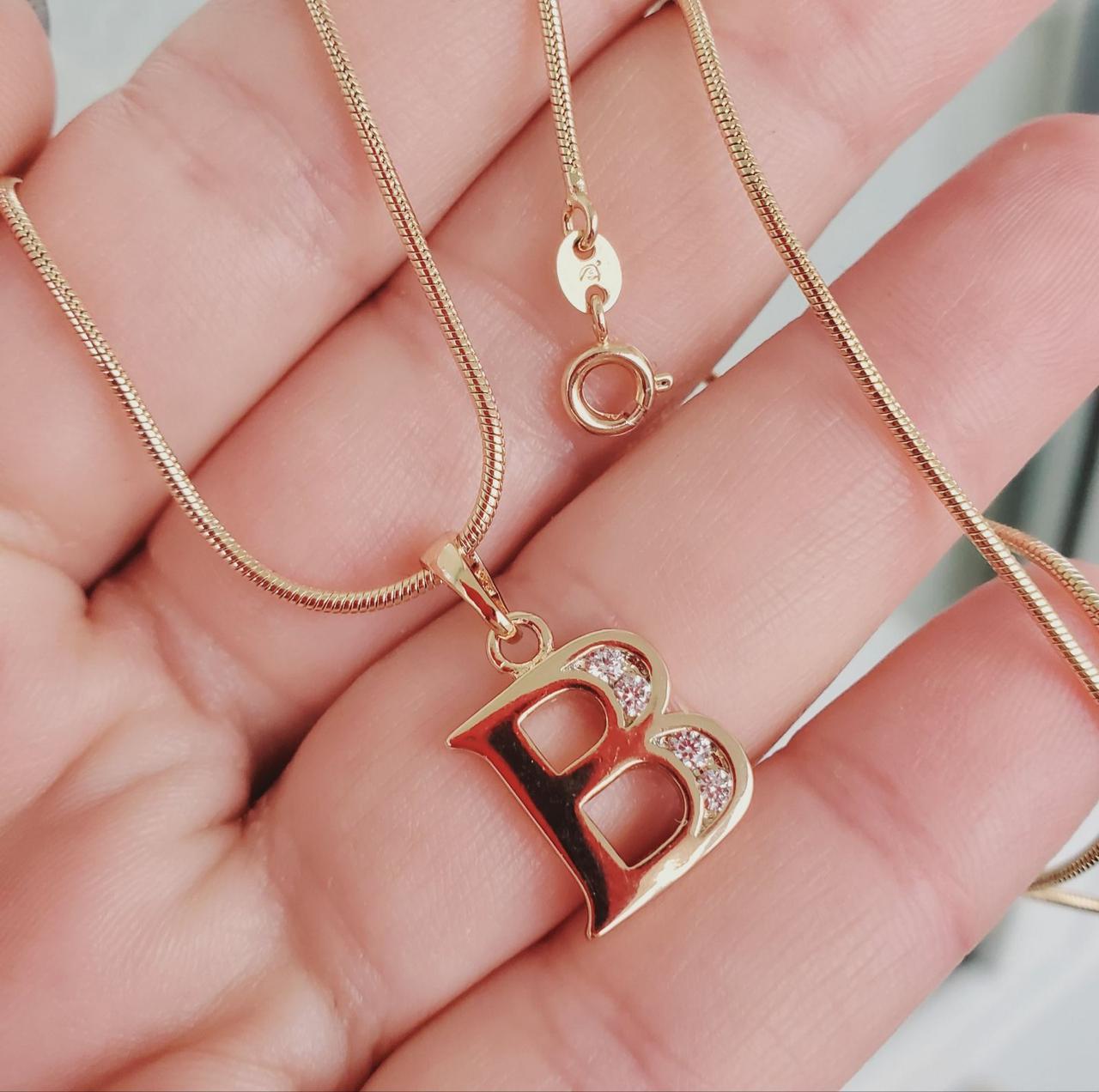 Кулон буква В с цепочкой снейк 1мм 50см xuping медицинское золото позолота 18К  5282