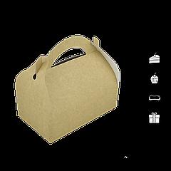 Упаковка для кондитерських изделий с ручкой крафт100х170х100мм