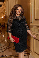 Аккуратное черное платье из сетки флок на подкладе с 50 по 60 размер, фото 1