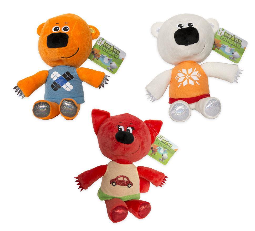 """М'яка іграшка з мультфільму """"мі-Мі-Ведмедики"""" Кеша, Хмаринка, Лисичка 20см. Ціна за набір 3шт"""