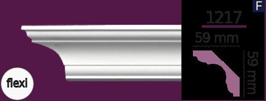 Карниз стельовий гладкий 1217 (2.44м) Flexi Home Decor ліпний декор з поліуретану