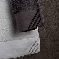 Мягкое махровое полотенце для лица Ally 50х90 черное/ белое