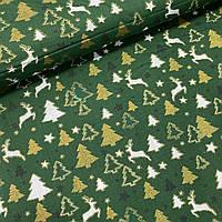 Хлопок с белыми оленями и золотыми глиттерными ёлочками на зелёном, ширина 160 см, фото 1