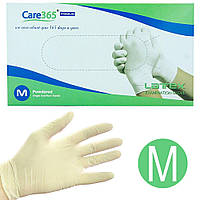 Перчатки латексные одноразовые Care 365, 100 шт М, Белые
