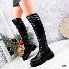 Ботфорты женские зимние, черного цвета из эко кожи. Ботфорти високі зимові на платформі, фото 3