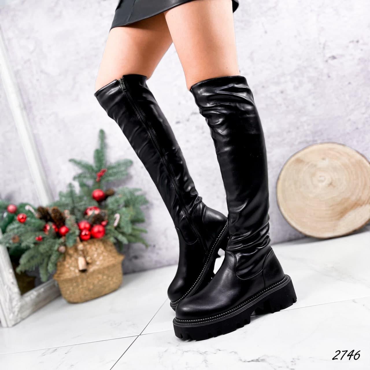 Ботфорты женские зимние, черного цвета из эко кожи. Ботфорти високі зимові на платформі