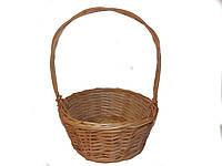 Плетена корзинка для подарков круглая (диаметр 32см)