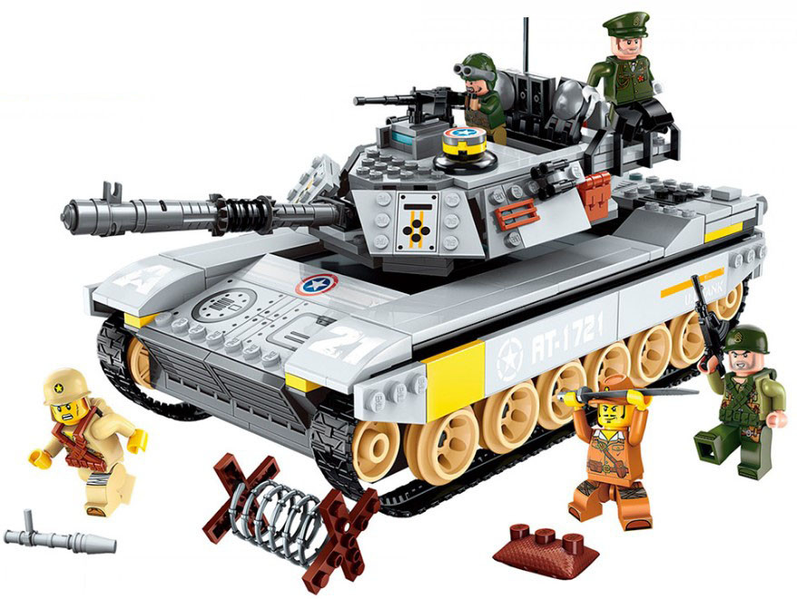 Конструктор Qman 1721 «Военный танк амфибия» Combat Zones 482 детали
