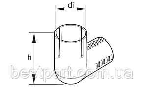 Коліно для подачі повітря для горіння діаметром 25мм