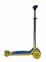 Трехколесный самокат для детей от 3 лет (синий с желтым)