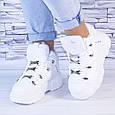 Кроссовки женские зимние на меху белые эко кожа b-471, фото 2
