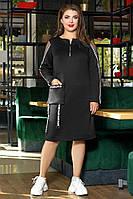 Платье прямого силуэта с длинным рукавом 52-58 р