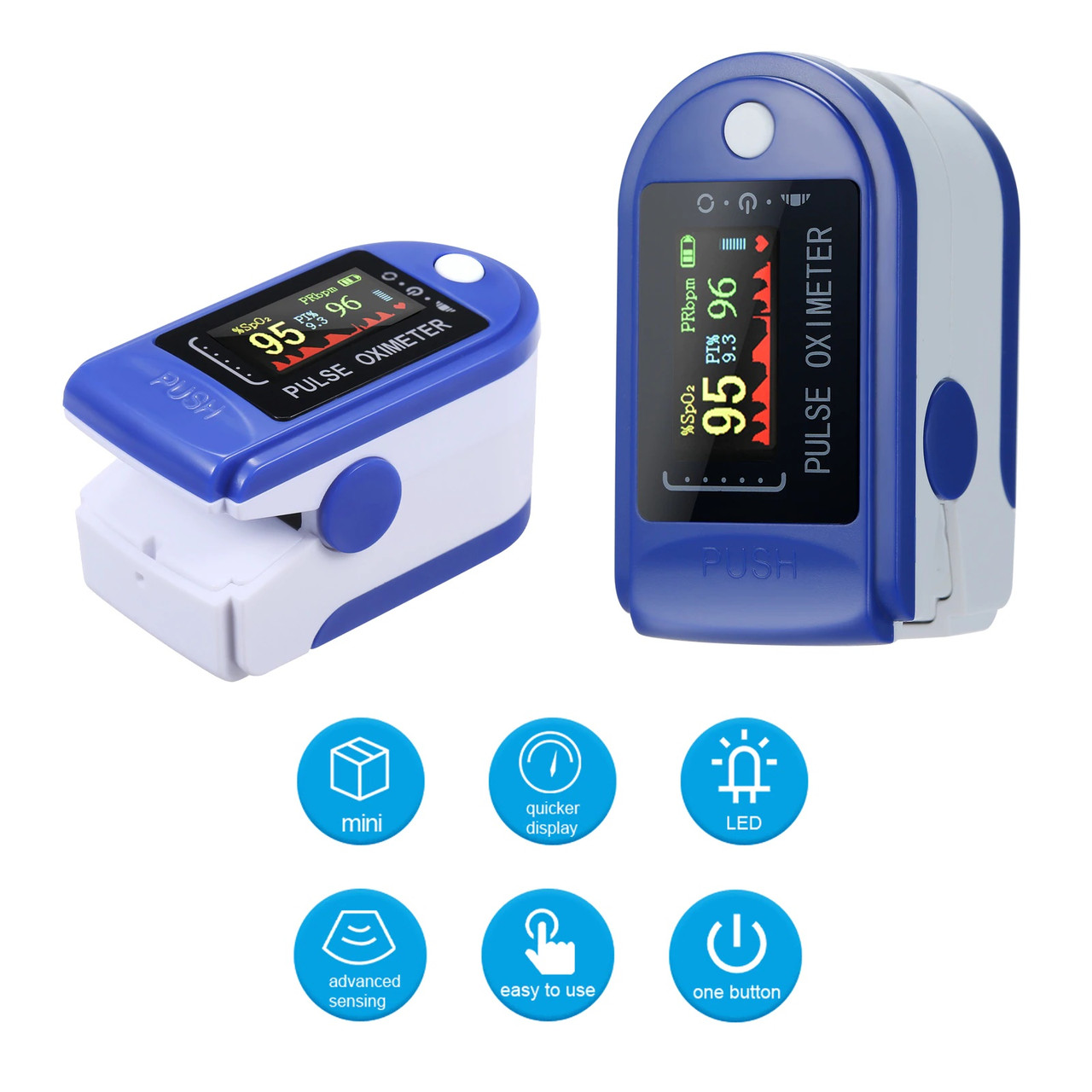 Пульсоксиметр цветной OLED дисплей, пульсовая волна, индекс перфузии (аналог CMS 50D) БЕЗ КОРОБКИ