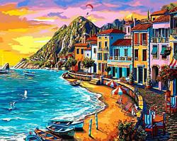 Картины по номерам 40×50 см Mariposa Город у моря на закате (Q 2232)