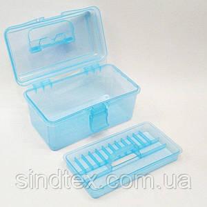 18х9х10см пластиковая тара (чемоданчик, контейнер, органайзер) для рукоделия и шитья (657-Л-0238)