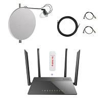 Комплект для 4G/3G интернета wi-fi роутер D-Link 815 + модем Huawei E3372 + антенна 27 дБ для дома и дачи