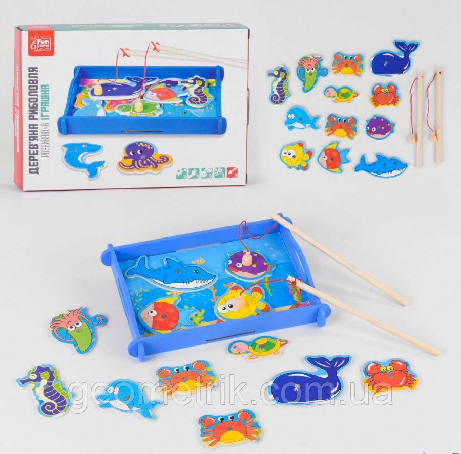Деревянная игра Рыбалка (морские животные, 12 фигурок) арт. 68815 Fun Game