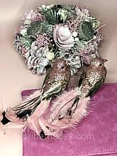 Декоративная птица на клипсе 20см, цвет - тёмно-розовый 2 шт.