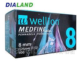 Иглы Веллион Wellion MEDFINE plus для шприц-ручек 0,25мм (31G)*8мм