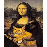 Алмазная живопись 30*40 GM70849 Мона Лиза с котом, Джаконда, алмазная мозаика