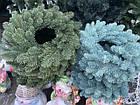 Литой Веночек новогодний голубой 40 см декоративный, фото 7