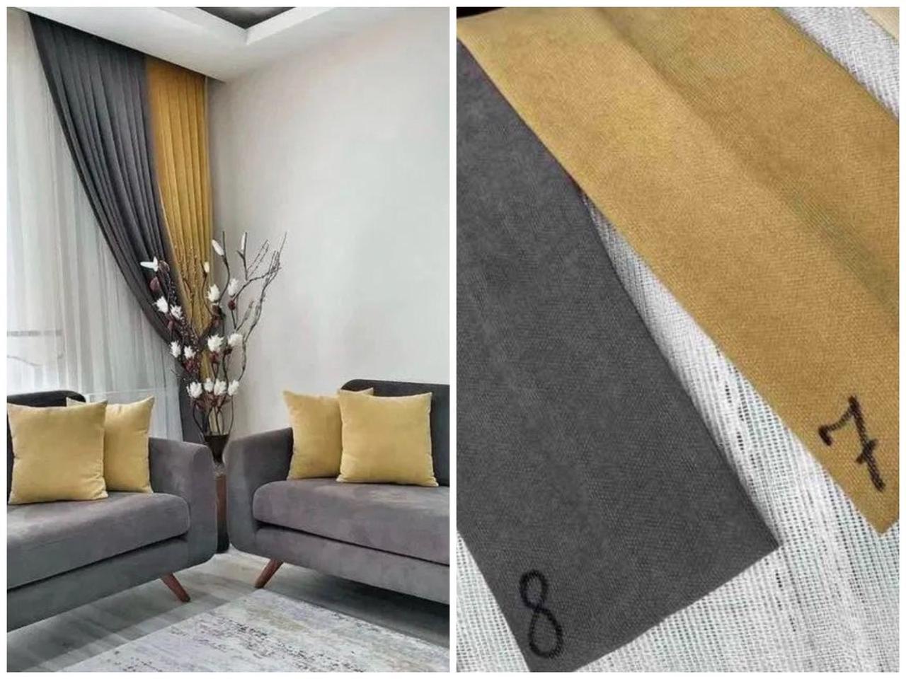 Готовые плотные двойные шторы на окна в спальню,залу микровельвет (цвета в ассортименте)