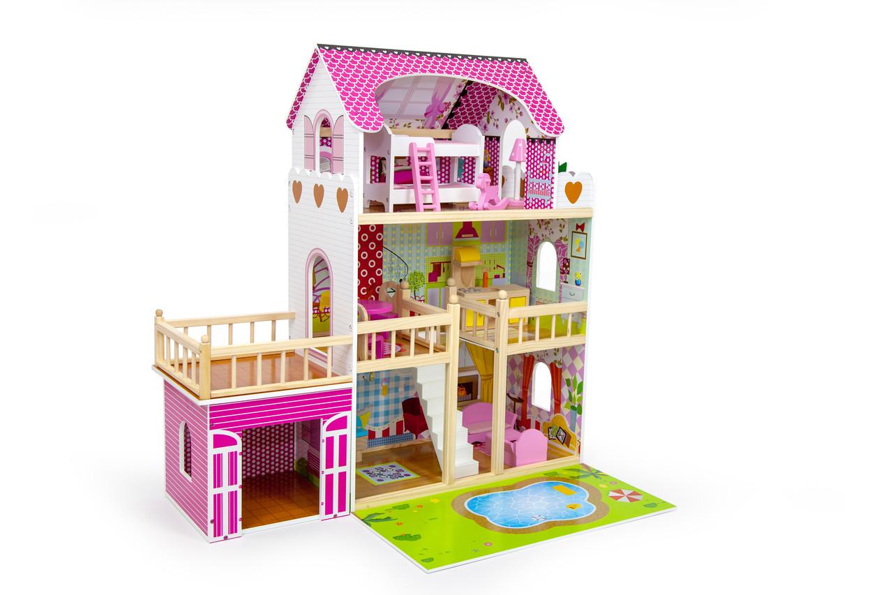 Кукольный домик игровой AVKO Вилла Венеция + LED подсветка + 2 куклы